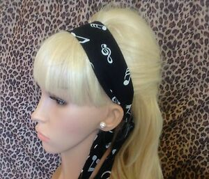BLACK-MUSIC-NOTE-COTTON-FABRIC-HEAD-SCARF-HAIR-BAND-SELF-TIE-BOW-50s-60s-STYLE