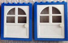 #6235 4-02 2x Lego Basic Türen Blau/Weiß Höhe 6cm wenig bespielter Zustand