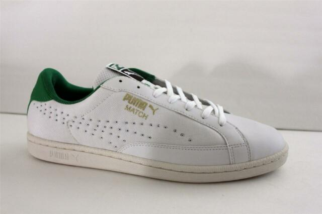 Puma Match Canvas White Green Mesh Leather Athletic Sneaker Shoes Size 13 M  Men ec989302a