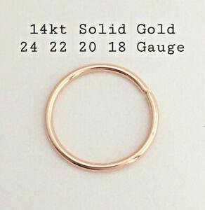 14k Solid Gold Nose Ring Septum Ear Piercing Hoop Earrings 5 6 7 8