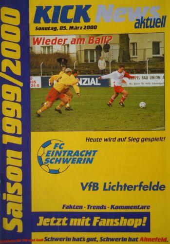 Fußball VfB Lichterfelde Fanmagazine & Programmhefte Programm 1999/00 FC Eintracht Schwerin