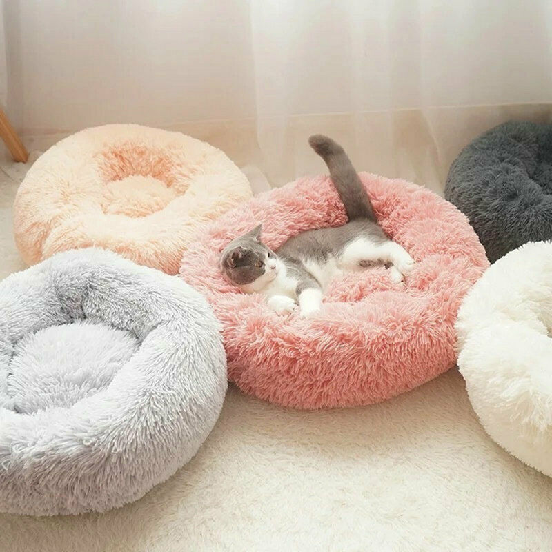 Comfy Calming Dog Cat Bed Round Warm Soft Plush Pet Bed Marshmallow Cat Bed XXXL 5