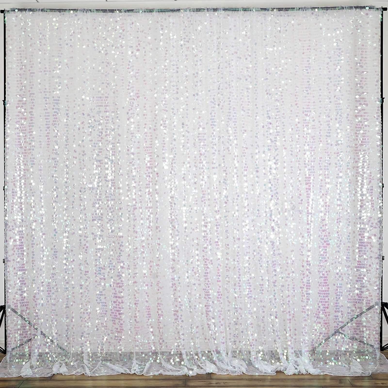 20 ft (environ 6.10 m) X 10 ft (environ 3.05 m) Big Payette transparent paillettes Toile De Fond Rideau Fête de Mariage Décoration
