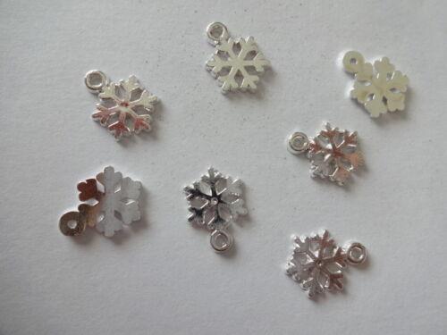 12//25//50 Bright Silver Tibetan Christmas Snowflake Charms Pendants 15mm ~ 21mm