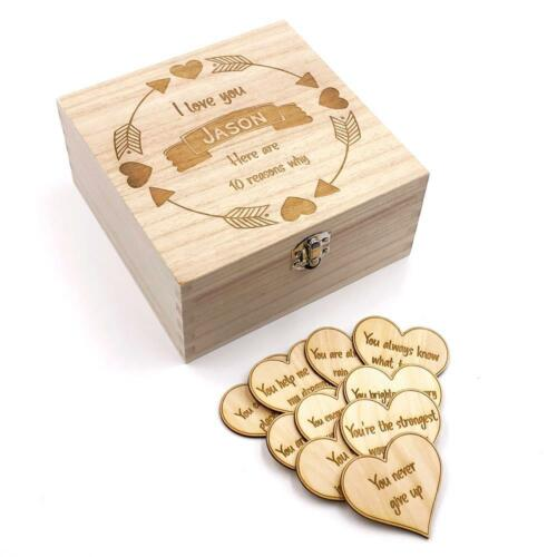 10 reasons why I Love you Wooden Box and Hearts Gift Personalised SHB-15