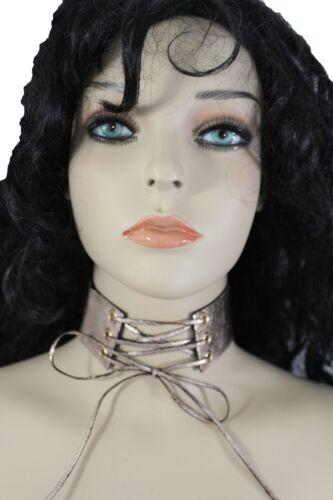 Women Fashion Choker Necklace Wide Metallic Pink Faux Leather Strap Corset Tie