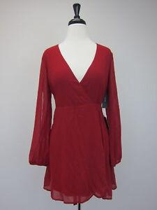 Lulu-039-s-Women-039-s-Chemistry-Long-Sleeve-Wrap-Dress-XS-Red-NWT