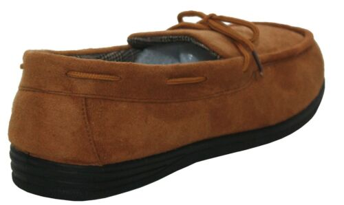 NEW MENS STITCHED SLIP ON SOFT COMFORTABLE FAUX SUEDE MOCCASIN SLIPPERS SHOE UK