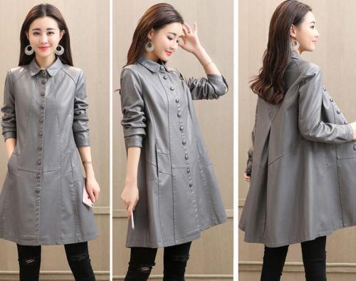 bouton outwear femmes robe long trench veste Dames décontracté cuir en manteau 7nq1C4I