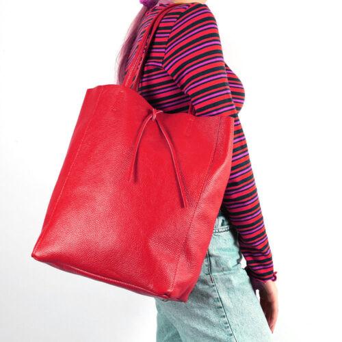 Shopper Schulter Tasche Italy Leder Borse Pelle A4 Schule Uni Freizeit Rot Neu