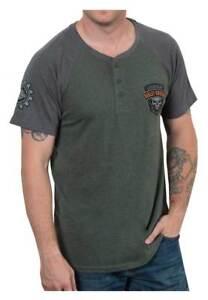 100% Vrai Harley-davidson Men's Speed Heavy Premium Short Sleeve Henley Tee, Green/gray