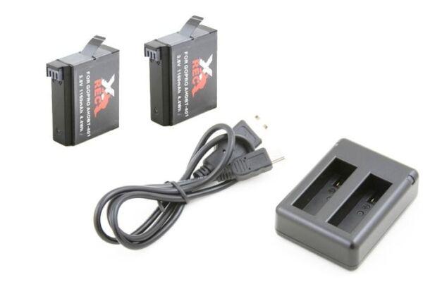 2x Batterie Accumulateurs Ahdbt-401 Pour Gopro Hero4 Hero 4 Avec Un Chargeur Haut Niveau De Qualité Et D'HygièNe
