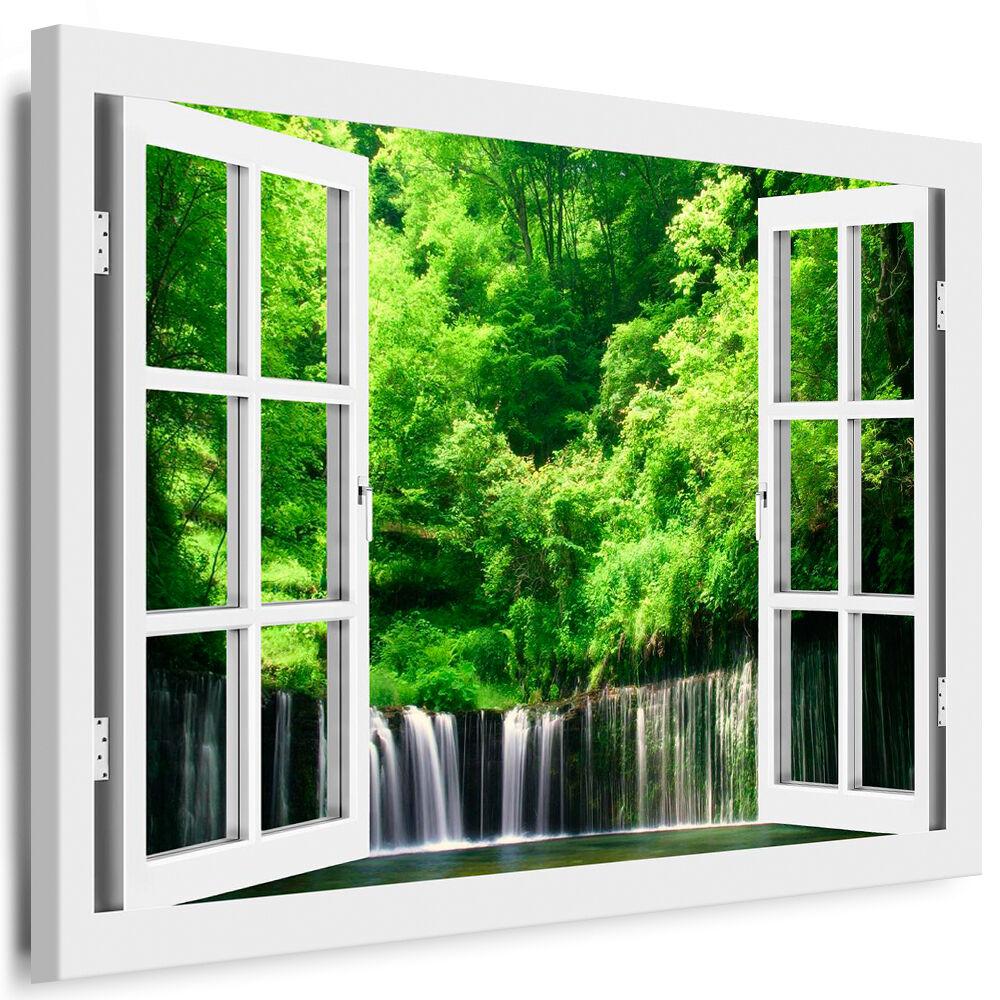 Bild auf Leinwand - Fensterblick Wasserfall - AA0257