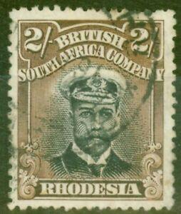 Rhodesia-1913-2s-Black-amp-Brown-SG214-Die-I-P-14-Fine-Used