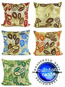 Cushions Large New Chenille Leaves Scatter Cushions or Covers Brown Gold