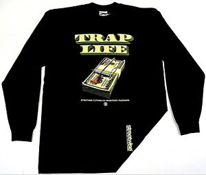 STREETWISE-TRAP-LIFE-Long-Sleeve-T-shirt-Urban-Streetwear-Adult-Men-Tee-New