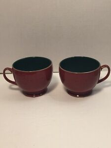 Denby-Harlequin-England-Red-Maroon-Green-Speckled-Footed-Coffee-Mug-Tea-Cups-2