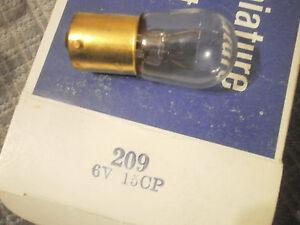 Miniature Lamps Bulbs Bayonet B6 #209 6V 15CP Ba15S Single Contact Box of 10