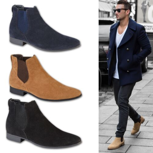 Men/'s Faux Formal Desert Work Casual Dress Ankle Chelsea Boots Shoes UK Sizes