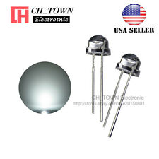 100pcs 5mm Straw Hat White Light Wide Angle  Transparent LED Emitting Diodes USA