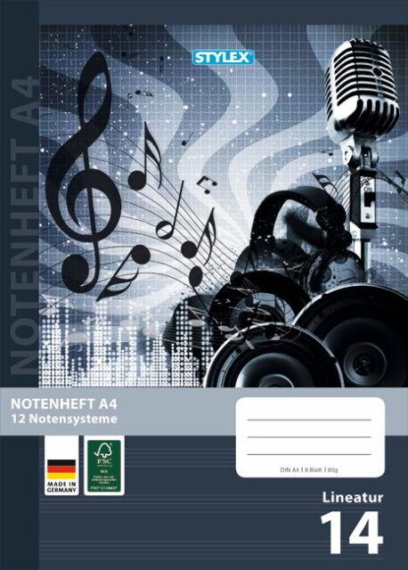 STYLEX Notenheft DIN A5 16 Blatt Lineatur 14 Schulheft Musik Heft