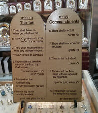 "6"" Bethlehem Olive Wood Standing Ten 10 Commandments Hebrew English Moses Bible"