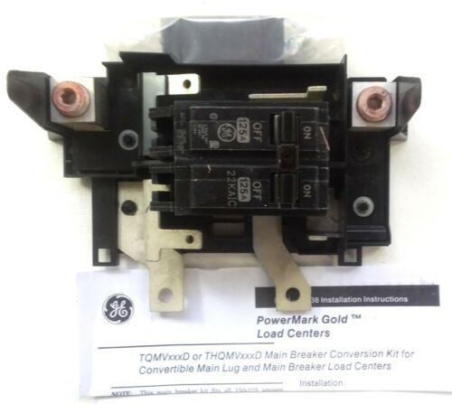 GE THQMV1250D 22KAIC 125A 2P 120//240V lug kit circuit breaker+base