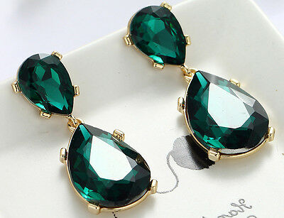 1 Pair Elegant Green Crystal Rhinestone  Ear Drop Dangle Stud long Earrings 186