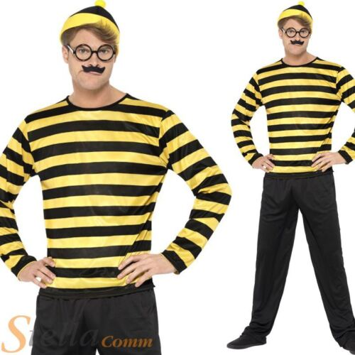 Mens Odlaw Where/'s Wally Costume Adult Fancy Dress Book Week Outfit