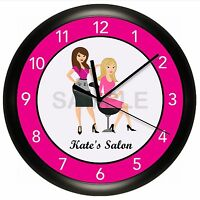 Hair Salon Clock Wall Personalized Stylist Barber Beauty Spa Nails Pink Scissors