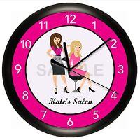Hair Salon Clock Wall Personalized Stylist Barber Beauty Spa Nails Pink Scissors