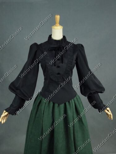 Edwardian Blouses | White & Black Lace Blouses & Sweaters  Victorian Black Gothic Women Shirt Blouse Steampunk Witch Halloween Costume B187 $69.95 AT vintagedancer.com