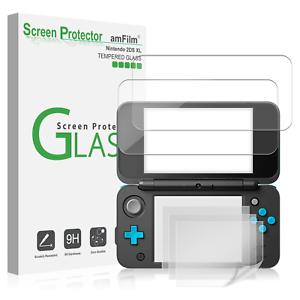 Nintendo 2DS XL amFilm 2 Tempered Glass (Top)   4 PET (Bottom) Screen Protectors