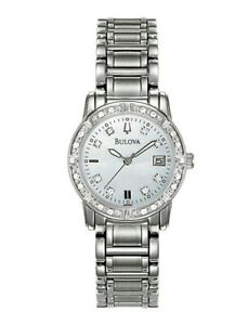 Bulova Women's Quartz Diamond Accented Mother of Pearl Dial 26mm Watch 96R105