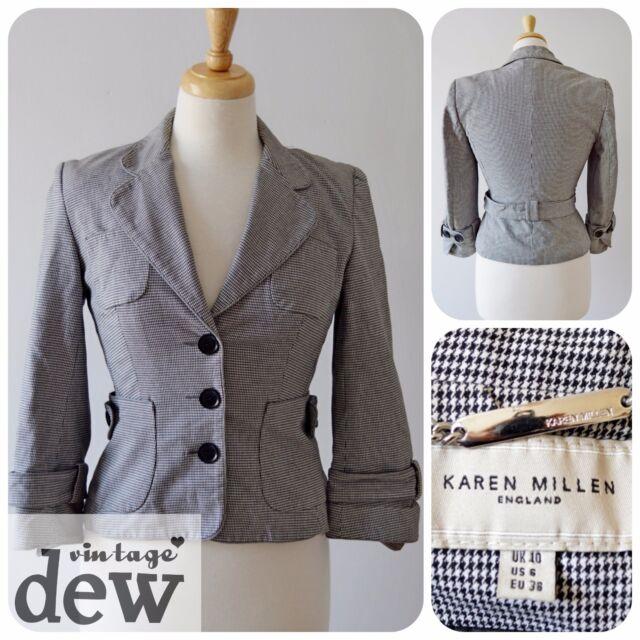 KAREN millen DOGTOOTH jacket 1940's 50's   DITA  8 10 black & white cotton