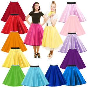 Ladies SATIN Rock n Roll Skirts 1950/'s Costume Pink Ladies HAIRSPRAY JIVE UK
