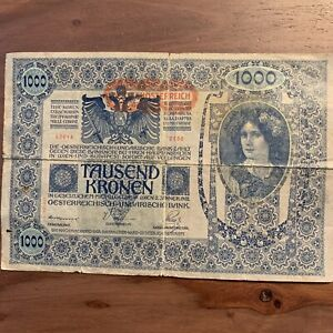 Pre-WWI-Currency-1000-tausend-Kronen-Banknote-Austria-Hungary-1902