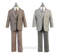 Baby Toddler Kids Boys Linen Brown Grey Checker Suit Formal 5 Pc Wedding 240