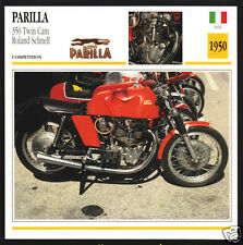 1950 Parilla 350cc Twin Cam Roland Schnell Race Motorcycle Photo Spec Info Card
