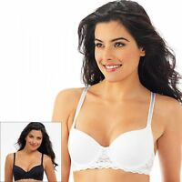 Lily Of France Women's 2-pack Smooth Lace Push Up Bra 2179541 White/black