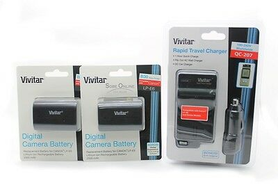 LP-E6 2 New Battery + 1 Charger for Canon EOS 6D 60D 7D 70D 5D Mark II III