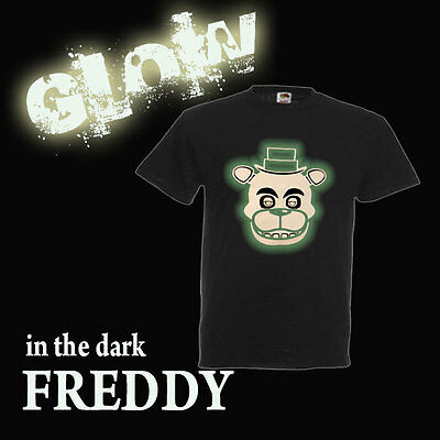 FIVE NIGHTS AT FREDDY'S GLOW IN THE DARK T SHIRT FREDDY FACE ALL SIZES
