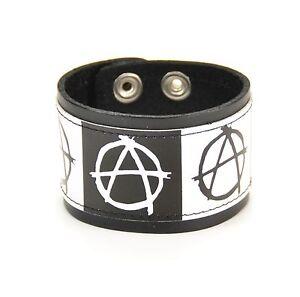 Anarchy-Genuine-Leather-Bracelet-Punk-Goth-Skater-Rock-Metal