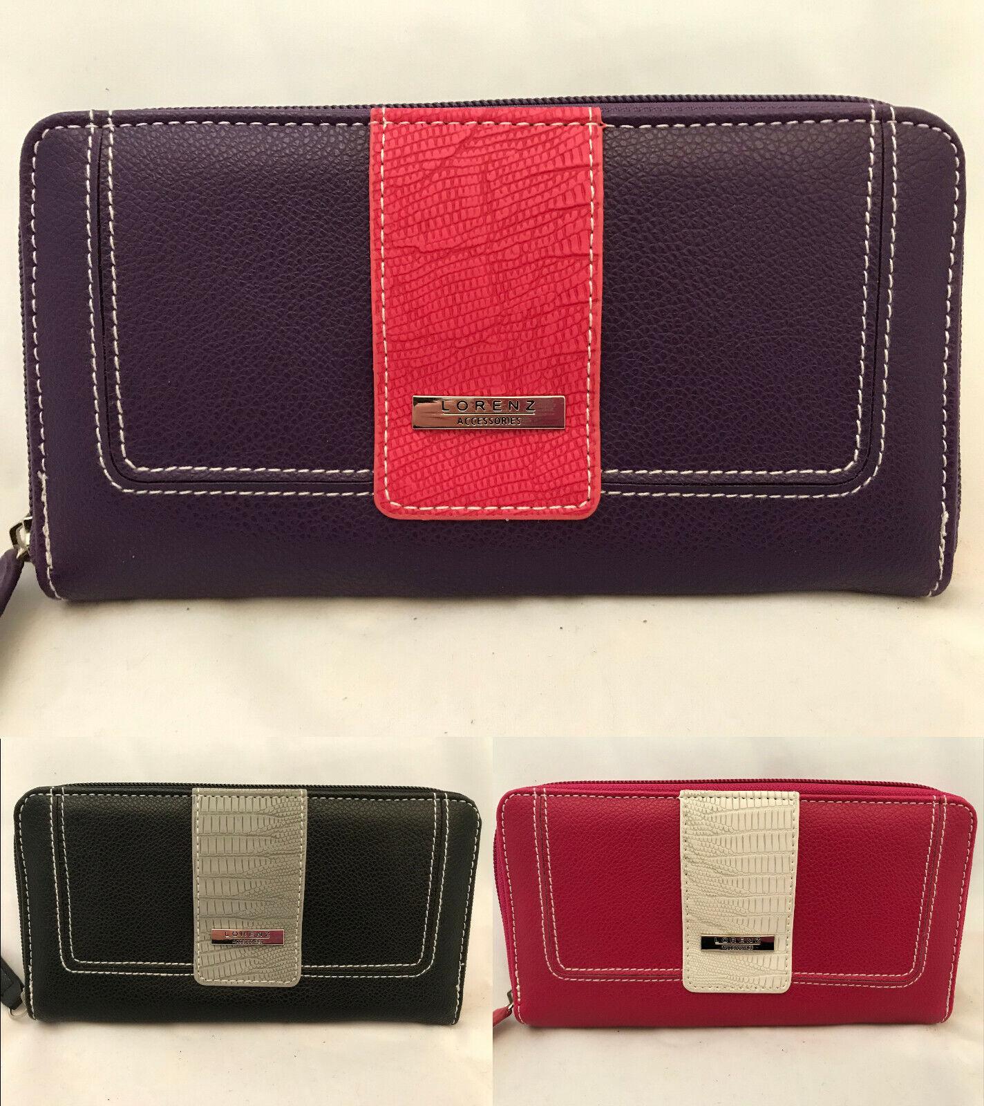 Lorenz Leather Grain PU Zip Round Purse / Card Holder. 3 Colours