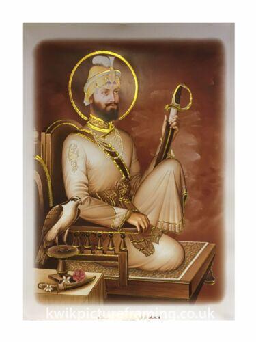"""Guru Gobind Singh Ji en sépia photo encadrée 16/"""" x 12/"""" pouces Photo Encadrement"""