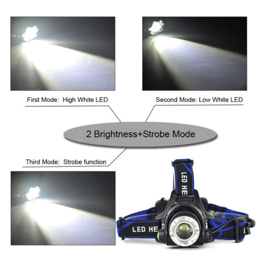 UK Zoom 90000LM T6 LED Headlamp Headlight Flashlight Head Torch CREE Work Light*