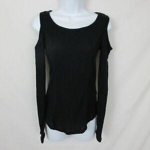 Ultra-Flirt-Cold-Shoulder-Thermal-Top-Waffle-Fabric-Juniors-Small-New-34