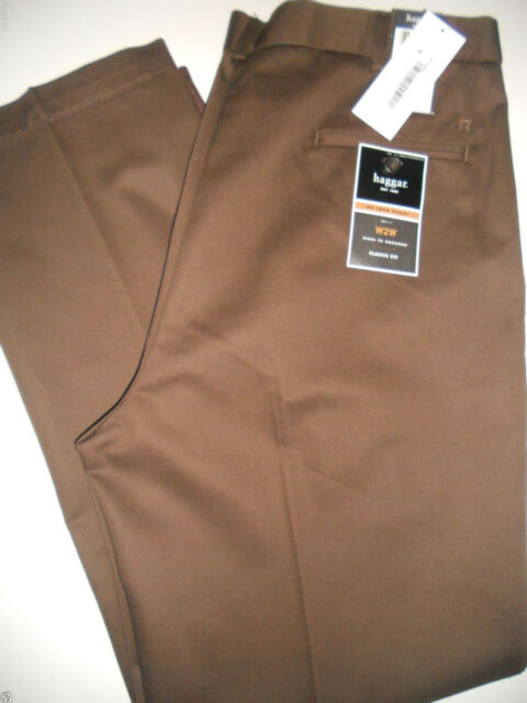 NWT HAGGAR 38 x 34 Classic Work to Weekend Straight Plain Flat Front Bean Pants