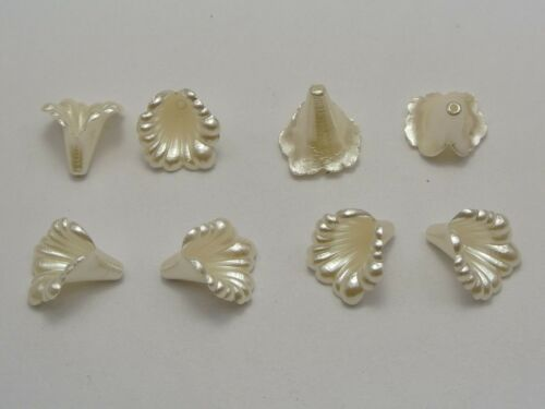 100 Ivory Acrylic Pearl Lily Bellflower Bell Flower Bead Cap Beads 12mm