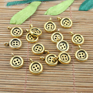 12pcs dark gold-tone 2sided flower connector charms h2217